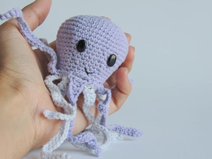 crochet, octopus, stuffed, animal, stuffie, plushi, soft, toy, crib, gift, premature, babies
