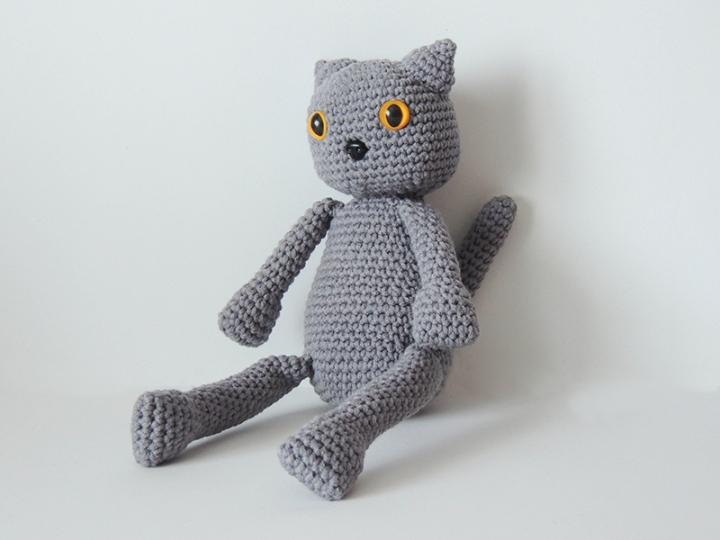 stuffed, animal, grey, cotton, cat, crochet, plush toy, gift, amigurumi
