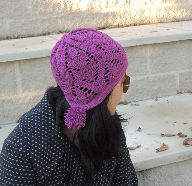 crochet, cap, beanie, slouchy, hat, violet colour, knitted, winter, accessories, women gift, romantic, boho chic, style