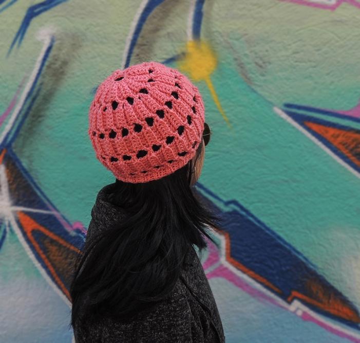 gorro, tejido, crochet, lana, calado, rosado, estilo boho chic, estilo hippie glam