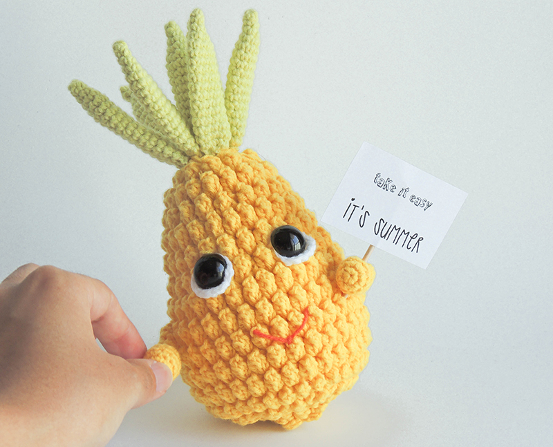 pineapple, gifts, decor, amigurumi, plush, crochet, yellow, cotton, sweet, face, adorable, cutie, kawaii, summer 2017, take a breathe, take it easy, anana, piña, respira, verano